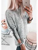 olcso Női pulóverek-Női Egyszínű Hosszú ujj Pulóver Pulóver jumper Ősz / Tél Fekete / Világos szürke / Fehér S / M / L