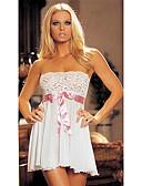 Χαμηλού Κόστους Ρόμπα-Γυναικεία Δαντέλα Sexy Μπέιμπι-ντολ & Σλιπ Πυτζάμες Μονόχρωμο Λευκό Ανθισμένο Ροζ M L XL / Στράπλες