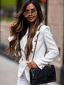 Χαμηλού Κόστους Blazers-Γυναικεία Μπλέιζερ, Μονόχρωμο Κλασικό Πέτο Πολυεστέρας Μαύρο / Λευκό / Ανθισμένο Ροζ