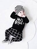 billige T-skjorter og singleter til herrer-Baby Gutt Fritid / Aktiv Trykt mønster Trykt mønster Langermet Normal Tøysett Svart