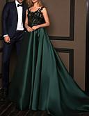 Χαμηλού Κόστους Βραδινά Φορέματα-Γραμμή Α Βυθίζοντας το λαιμό Ουρά Δαντέλα / Σατέν Όμορφη Πλάτη Επίσημο Βραδινό Φόρεμα 2020 με Πλισέ / Εισαγωγή δαντέλας