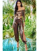 ราคาถูก จั๊มสูทและเสื้อคลุมสำหรับผู้หญิง-สำหรับผู้หญิง พื้นฐาน สีน้ำตาล ชุด Jumpsuits, สีพื้น ลายต่อ S M L