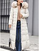 povoljno Ženske kaputi od kože i umjetne kože-Žene Jednobojni Dug Padded, POLY Crn / Obala / Vojska Green M / L / XL