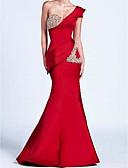 ราคาถูก Special Occasion Dresses-ทรัมเป็ต / เมอร์เมด ไหล่เดียว ลากพื้น ซาติน ทางการ แต่งตัว กับ จีบ โดย LAN TING Express