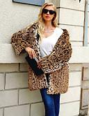 povoljno Ženske kaputi od kože i umjetne kože-Žene Dnevno Dug Faux Fur Coat, Leopard S kapuljačom Dugih rukava Umjetno krzno Braon