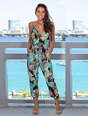 ราคาถูก จั๊มสูทและเสื้อคลุมสำหรับผู้หญิง-สำหรับผู้หญิง ซึ่งทำงานอยู่ / พื้นฐาน สีเขียวอ่อน ชุด Jumpsuits, ลายดอกไม้ ลายพิมพ์ M L XL