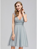 cheap Women's Fur & Faux Fur Coats-A-Line Plunging Neck Short / Mini Georgette Bridesmaid Dress with Ruching by LAN TING Express