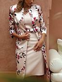 povoljno Print Dresses-Žene Elegantno Čipka Slim Dvodijelni kroj Haljina - Čipka, Cvjetni print V izrez Midi
