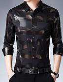 billige Herreskjorter-Skjorte Herre - Geometrisk Svart