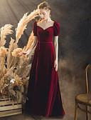 Χαμηλού Κόστους Βραδινά Φορέματα-Γραμμή Α Λαιμόκοψη V Μακρύ Βελούδο Κομψό & Πολυτελές / Στυλ Διασήμων Χοροεσπερίδα Φόρεμα 2020 με / Μπαλούν