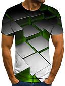 Χαμηλού Κόστους Ανδρικά μπλουζάκια και φανελάκια-Ανδρικά T-shirt Κομψό στυλ street / Πανκ & Γκόθικ Συνδυασμός Χρωμάτων / 3D / Γραφική Στάμπα Ουράνιο Τόξο