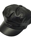 Χαμηλού Κόστους Women's Hats-Γυναικεία Συνδυασμός Χρωμάτων Ενεργό Βασικό χαριτωμένο στυλ PU Μπερές Όλες οι εποχές Μαύρο Κίτρινο Ρουμπίνι