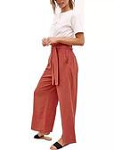 זול מכנסיים לנשים-בגדי ריקוד נשים שיק ומודרני רגל רחבה מכנסיים - אחיד כותנה שחור כתום צהוב S M L