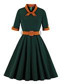 povoljno Vintage kraljica-Žene Osnovni Swing kroj Haljina - Peplum, Jednobojni Midi