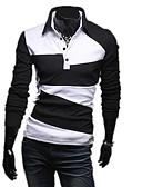 olcso Férfi pólók-Alap / Elegáns Férfi Polo - Egyszínű / Csíkos Fekete