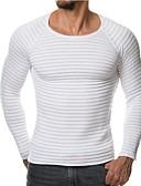 povoljno Muški džemperi i kardigani-Muškarci Prugasti uzorak Dugih rukava Pullover, Okrugli izrez Crn / Lila-roza / Svijetlosiva US32 / UK32 / EU40 / US34 / UK34 / EU42 / US36 / UK36 / EU44