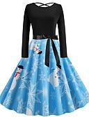 olcso Női ruhák-Női Vintage Alap Swing Ruha - Kollázs Nyomtatott, Mértani Térdig érő Mikulás