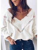 baratos Suéteres de Mulher-Mulheres Sólido Manga Longa Solto Pulôver Camisola Jumper, Decote V Branco S / M / L