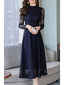 baratos Vestidos de Mulher-Mulheres Básico balanço Vestido Sólido Médio