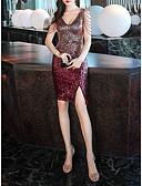 baratos Lenços e lenços femininos-Tubinho Decote mergulhador Curto / Mini Paetês Sensual / Brilho & Glitter Coquetel / Feriado Vestido 2020 com Lantejoulas / Detalhes em Cristal / Fenda Frontal