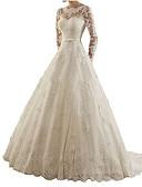 Χαμηλού Κόστους Νυφικά-Γραμμή Α Bateau Neck Ουρά Δαντέλα Μακρυμάνικο Απλό Φορέματα γάμου φτιαγμένα στο μέτρο με Δαντέλα 2020