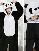billige Tights-Voksne Kigurumi-pysjamas Panda Onesie-pysjamas Flanellette Svart / Hvit Cosplay Til Damer og Herrer Pysjamas med dyremotiv Tegnefilm Festival / høytid kostymer