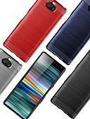 baratos Outro caso de telefone-Capinha Para Sony Sony XA2 Plus / Sony Xperia L3 / Sony Xperia 10 Antichoque / Ultra-Fina Capa traseira Sólido / Linhas / Ondas TPU / Fibra de carbono