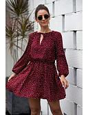 billige T-skjorter til damer-Dame Elegant Skjede Kjole - Polkadotter, Trykt mønster Knelang