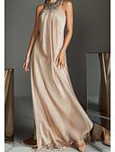 Χαμηλού Κόστους Φορέματα Παρανύμφων-Γραμμή Α Δένει στο Λαιμό Μακρύ Σιφόν Κομψό Επίσημο Βραδινό Φόρεμα 2020 με Χάντρες