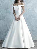 billige Bryllupskjoler-A-linje Løse skuldre Gulvlang Sateng Kortermet Enkel Åpen rygg Made-To-Measure Brudekjoler med Knapper 2020