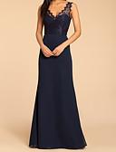 Χαμηλού Κόστους Φορέματα Παρανύμφων-Γραμμή Α Λαιμόκοψη V Μακρύ Σιφόν / Δαντέλα Φόρεμα Παρανύμφων με Διακοσμητικά Επιράμματα