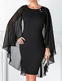 povoljno Maturalne haljine-Kroj uz tijelo Ovalni izrez Do koljena Šifon Mala crna haljina Koktel zabava Haljina s Perlica po LAN TING Express
