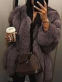 Χαμηλού Κόστους Women's Fur & Faux Fur Coats-Γυναικεία Καθημερινά Φθινόπωρο & Χειμώνας Κανονικό Faux Fur Coat, Μονόχρωμο Στρογγυλή Λαιμόκοψη Μακρυμάνικο Ψεύτικη Γούνα Μαύρο / Λευκό / Ανθισμένο Ροζ