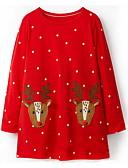 olcso Lány ruhák-Gyerekek Lány aranyos stílus Állat Karácsony Hosszú ujj Térd feletti Ruha Rubin / Pamut
