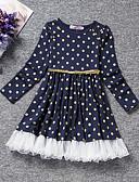Χαμηλού Κόστους Φορέματα για κορίτσια-Παιδιά Νήπιο Κοριτσίστικα Ενεργό Γλυκός Πουά Μακρυμάνικο Ως το Γόνατο Φόρεμα Θαλασσί