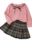 cheap Girls' Clothing Sets-Kids Girls' Basic Plaid Long Sleeve Clothing Set Blushing Pink