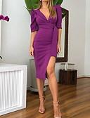 baratos Camisas Femininas-Mulheres Elegante Bainha Vestido - Fenda, Sólido Altura dos Joelhos