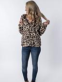 ราคาถูก โค้ท & เทรนช์โค้ทผู้หญิง-สำหรับผู้หญิง ทุกวัน ปกติ เสื้อโค้ท, ลายเสือ ฮู้ด แขนยาว ขนสัตว์เทียม สีน้ำตาล