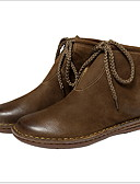 cheap Baby & Kids-Women's Boots Flat Heel Round Toe Cowhide Booties / Ankle Boots Fall & Winter Black / Brown / Khaki