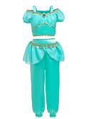Χαμηλού Κόστους Φορέματα για κορίτσια-Παιδιά Νήπιο Κοριτσίστικα Βίντατζ Ενεργό Halloween Φεστιβάλ Μονόχρωμο Halloween Αμάνικο Κοντό Κανονικό Βαμβάκι Σετ Ρούχων Πράσινο του τριφυλλιού
