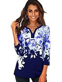 billige T-skjorter til damer-V-hals Store størrelser T-skjorte Dame - Blomstret, Trykt mønster Grunnleggende Svart