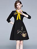 baratos Vestidos Longos-Mulheres Vintage Elegante Evasê Vestido - Cordões, Floral Altura dos Joelhos