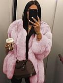 povoljno Ženske kaputi od kože i umjetne kože-Žene Dnevno Normalne dužine Faux Fur Coat, Jednobojni Okrugli izrez Dugih rukava Umjetno krzno Crn / Obala / Blushing Pink