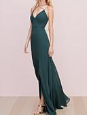 זול שמלות שושבינה-גזרת A רצועות ספגטי עד הריצפה שיפון שמלה לשושבינה  עם שסע קדמי / קפלים על ידי LAN TING Express