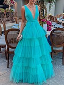 baratos Vestidos de Festa-Mulheres balanço Vestido Sólido Decote em V Profundo Assimétrico