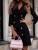 baratos Mini Vestidos-Mulheres Bainha Vestido Sólido Colarinho de Camisa Mini