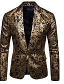 ราคาถูก ชุดแต่งงาน-สำหรับผู้ชาย เสื้อคลุมสุภาพ, ลายดอกไม้ ปกคอแบะของเสื้อแบบน็อตช์ เส้นใยสังเคราะห์ สีดำ / ไวน์ / สีน้ำเงินกรมท่า