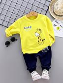 cheap Girls' Dresses-Baby Boys' Casual / Basic Print Long Sleeve Regular Cotton Clothing Set Yellow / Toddler