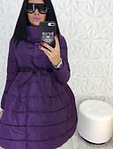 baratos Casacos para mulheres-Mulheres Estampa Colorida Longo Acolchoado, Poliéster Preto / Vinho / Roxo M / L / XL