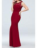 Χαμηλού Κόστους Βραδινά Φορέματα-Γραμμή Α Με Κόσμημα Μακρύ Σιφόν / Δαντέλα Φόρεμα Παρανύμφων με Δαντέλα / Ζώνη / Κορδέλα